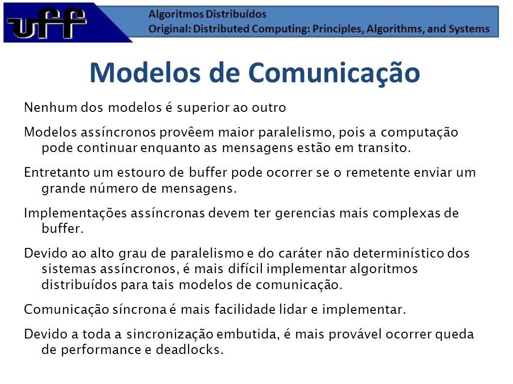 Nenhum dos modelos é superior ao outro Modelos assíncronos provêem maior paralelismo, pois a computação pode continuar enquanto as mensagens estão em