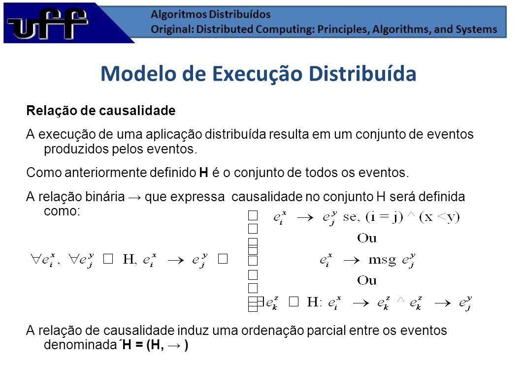 Relação de causalidade A execução de uma aplicação distribuída resulta em um conjunto de eventos produzidos pelos eventos. Como anteriormente definido