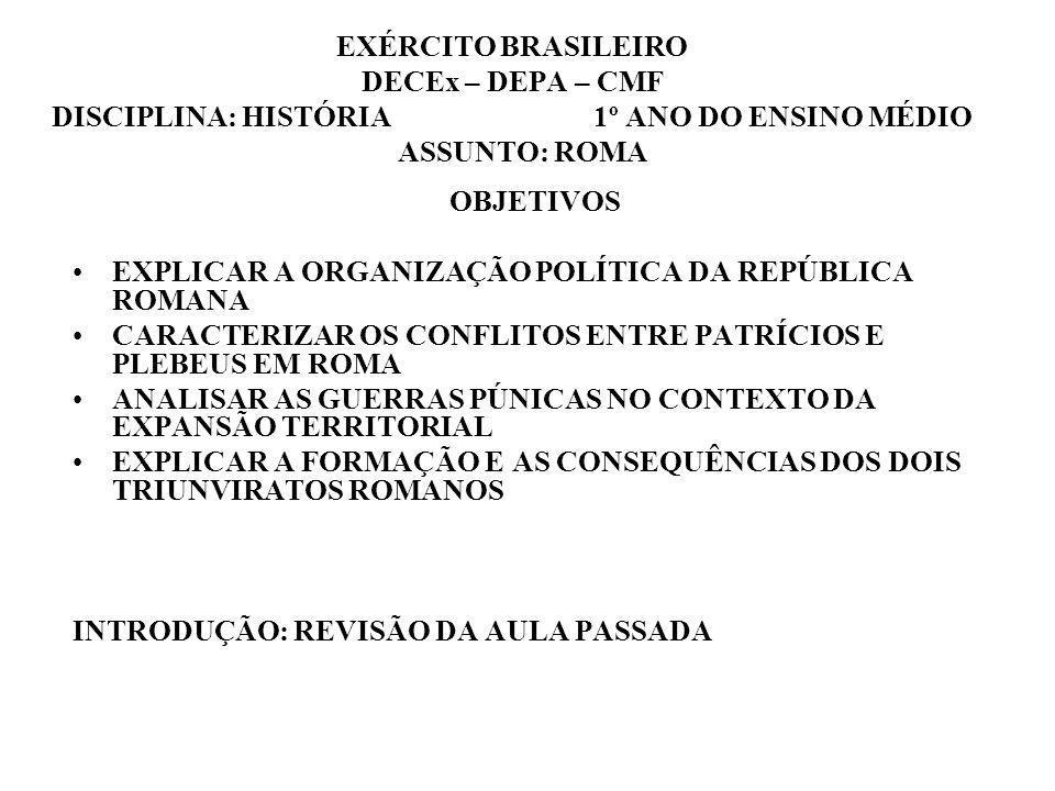 EXÉRCITO BRASILEIRO DECEx – DEPA – CMF DISCIPLINA: HISTÓRIA 1º ANO DO ENSINO MÉDIO ASSUNTO: ROMA OBJETIVOS EXPLICAR A ORGANIZAÇÃO POLÍTICA DA REPÚBLICA ROMANA CARACTERIZAR OS CONFLITOS ENTRE PATRÍCIOS E PLEBEUS EM ROMA ANALISAR AS GUERRAS PÚNICAS NO CONTEXTO DA EXPANSÃO TERRITORIAL EXPLICAR A FORMAÇÃO E AS CONSEQUÊNCIAS DOS DOIS TRIUNVIRATOS ROMANOS INTRODUÇÃO: REVISÃO DA AULA PASSADA