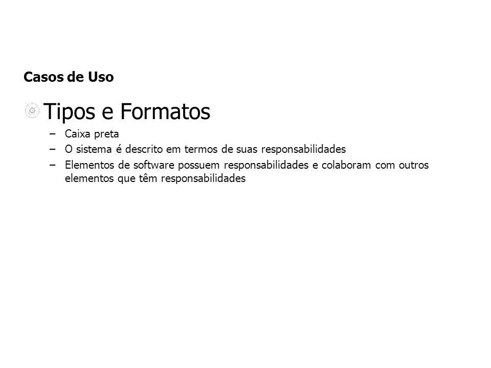 Casos de Uso Tipos e Formatos –Caixa preta –O sistema é descrito em termos de suas responsabilidades –Elementos de software possuem responsabilidades