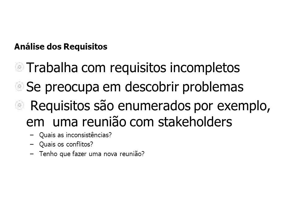 Análise dos Requisitos Trabalha com requisitos incompletos Se preocupa em descobrir problemas Requisitos são enumerados por exemplo, em uma reunião co
