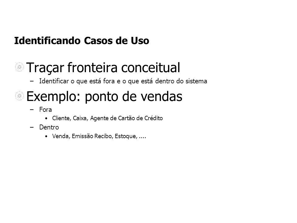 Identificando Casos de Uso Traçar fronteira conceitual –Identificar o que está fora e o que está dentro do sistema Exemplo: ponto de vendas –Fora Clie