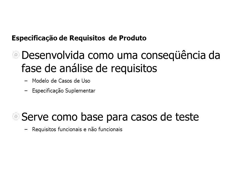 Especificação de Requisitos de Produto Desenvolvida como uma conseqüência da fase de análise de requisitos –Modelo de Casos de Uso –Especificação Supl