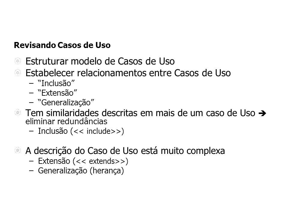 Revisando Casos de Uso Estruturar modelo de Casos de Uso Estabelecer relacionamentos entre Casos de Uso –Inclusão –Extensão –Generalização Tem similar