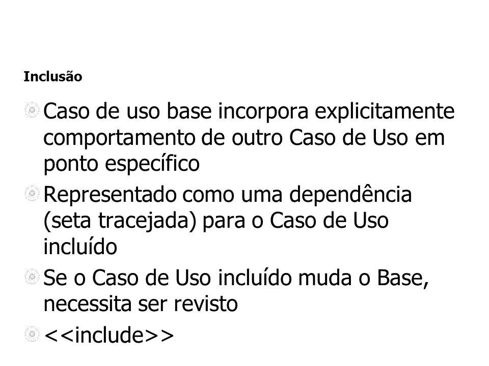 Inclusão Caso de uso base incorpora explicitamente comportamento de outro Caso de Uso em ponto específico Representado como uma dependência (seta trac