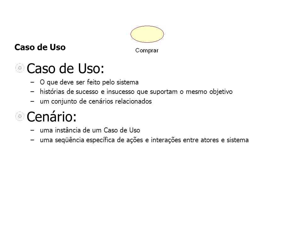 Caso de Uso Caso de Uso: –O que deve ser feito pelo sistema –histórias de sucesso e insucesso que suportam o mesmo objetivo –um conjunto de cenários r