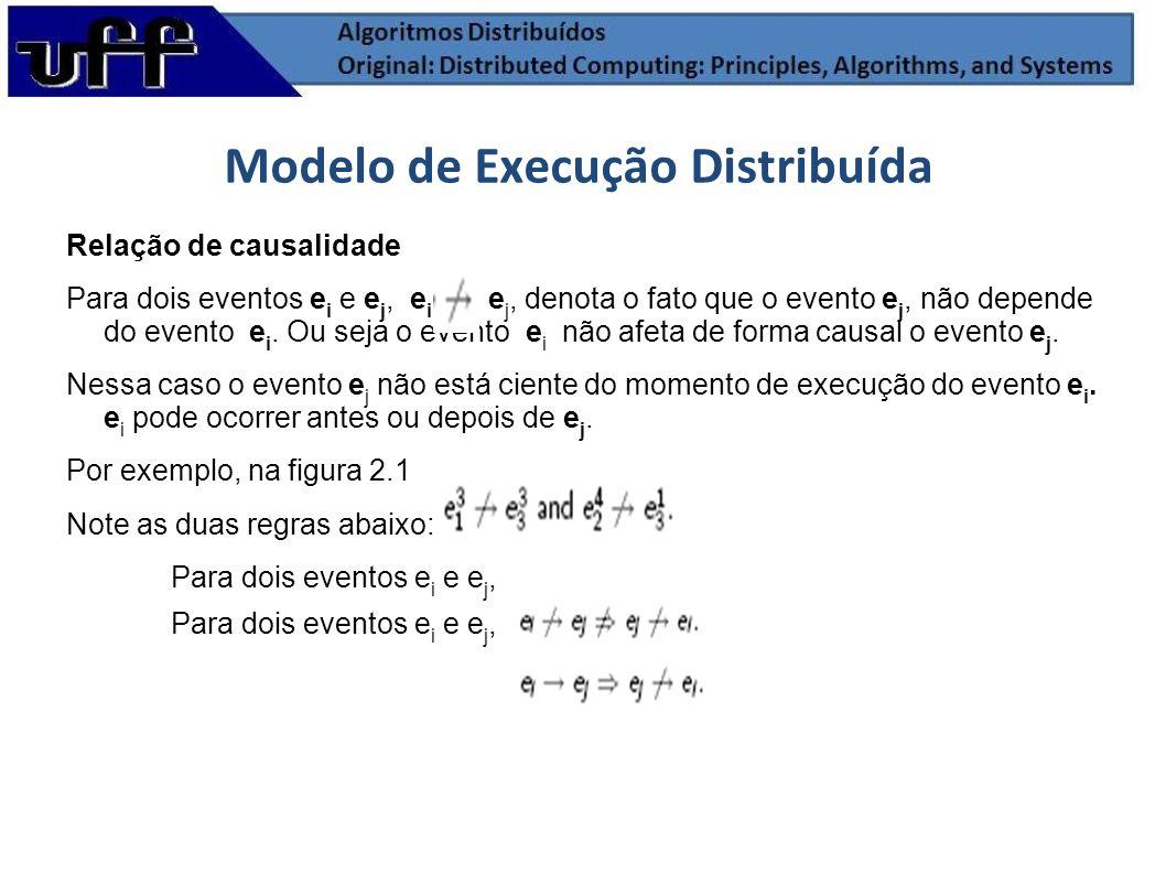 Relação de causalidade Para dois eventos e i e e j, e i e j, denota o fato que o evento e j, não depende do evento e i. Ou seja o evento e i não afeta