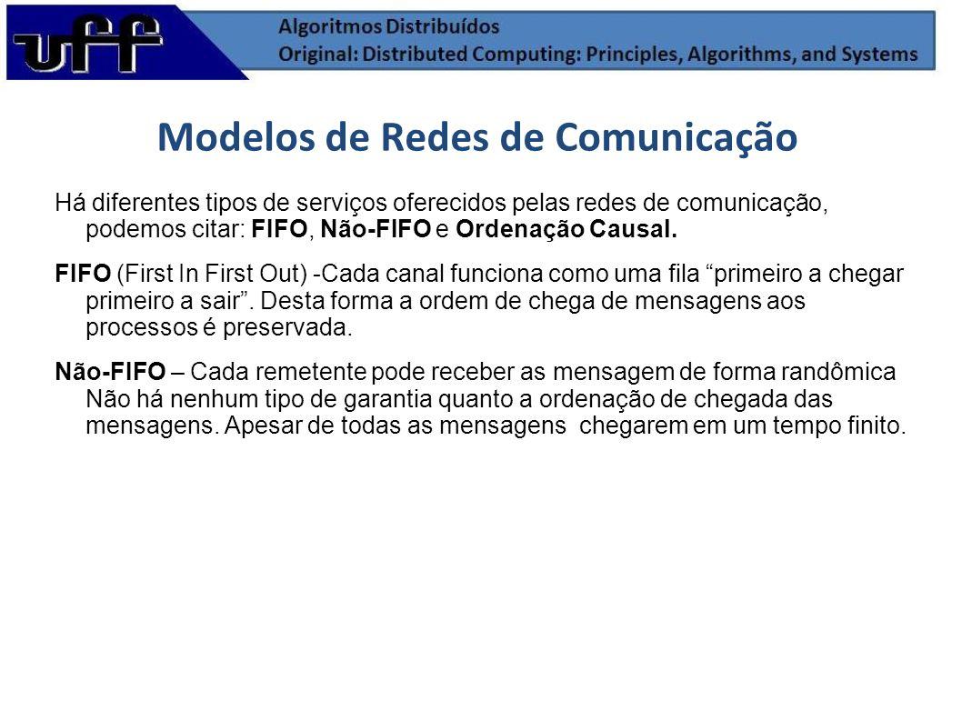 Há diferentes tipos de serviços oferecidos pelas redes de comunicação, podemos citar: FIFO, Não-FIFO e Ordenação Causal. FIFO (First In First Out) -Ca