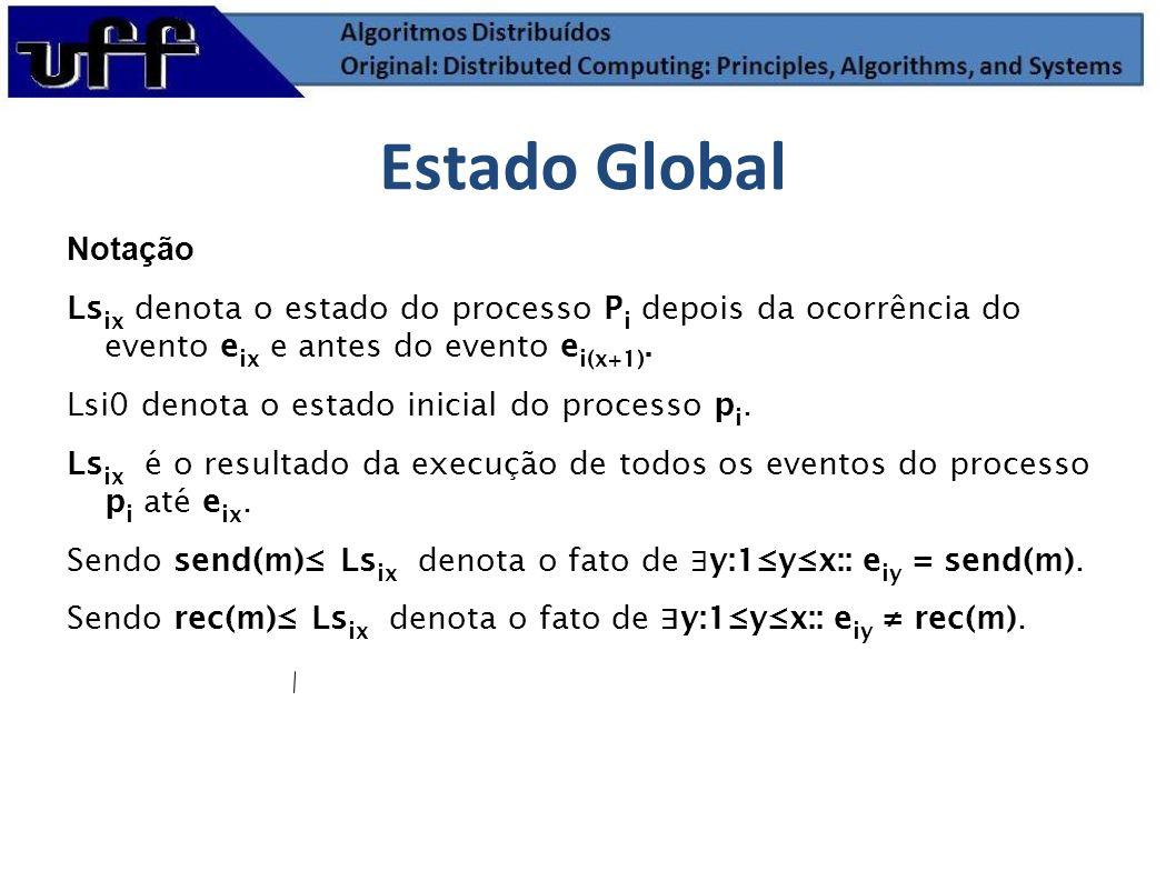 Notação Ls ix denota o estado do processo P i depois da ocorrência do evento e ix e antes do evento e i(x+1). Lsi0 denota o estado inicial do processo
