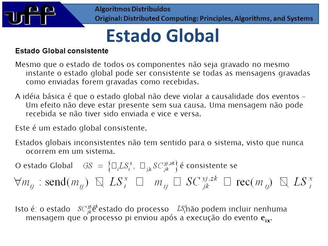 Estado Global consistente Mesmo que o estado de todos os componentes não seja gravado no mesmo instante o estado global pode ser consistente se todas