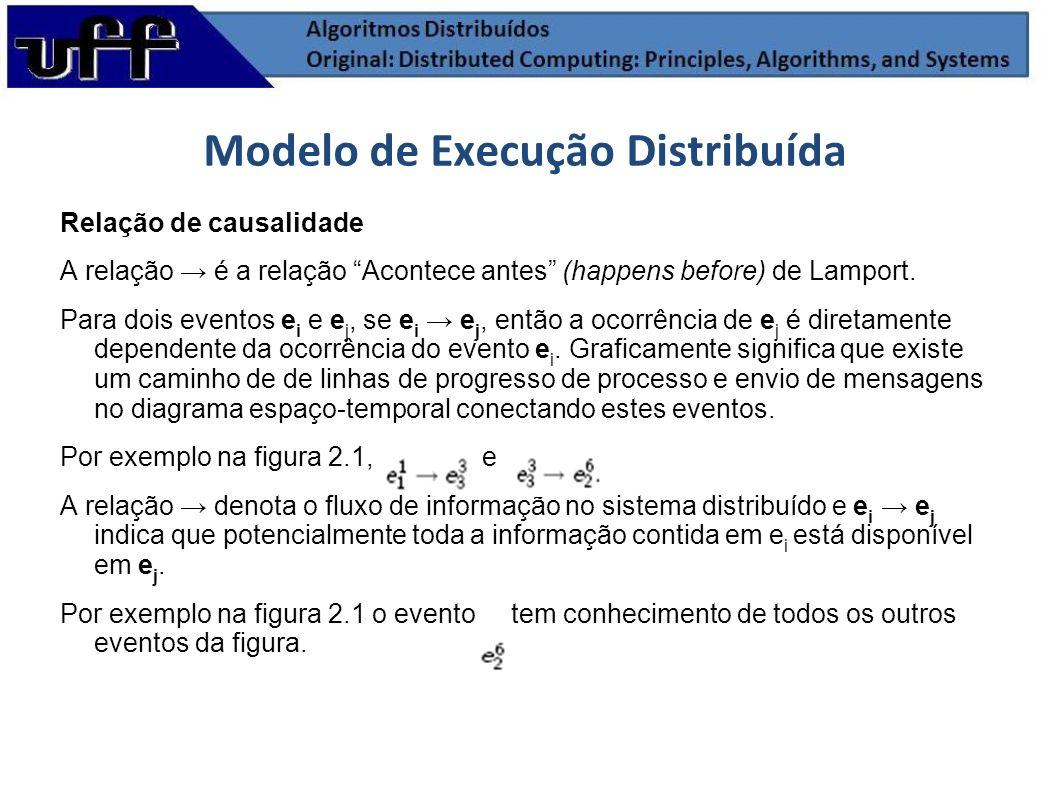 Relação de causalidade A relação é a relação Acontece antes (happens before) de Lamport. Para dois eventos e i e e j, se e i e j, então a ocorrência d