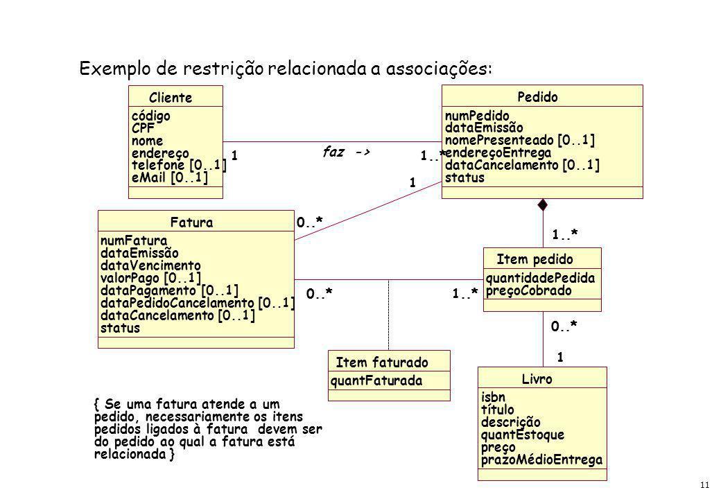 11 Exemplo de restrição relacionada a associações: Item faturado quantFaturada Livro isbn título descrição quantEstoque preço prazoMédioEntrega Item pedido quantidadePedida preçoCobrado 1 0..* 1 Cliente código CPF nome endereço telefone [0..1] eMail [0..1] Pedido numPedido dataEmissão nomePresenteado [0..1] endereçoEntrega dataCancelamento [0..1] status 1..* 1 1 faz -> Fatura numFatura dataEmissão dataVencimento valorPago [0..1] dataPagamento [0..1] dataPedidoCancelamento [0..1] dataCancelamento [0..1] status 1..*0..*1..*0..* 1 1 { Se uma fatura atende a um pedido, necessariamente os itens pedidos ligados à fatura devem ser do pedido ao qual a fatura está relacionada }