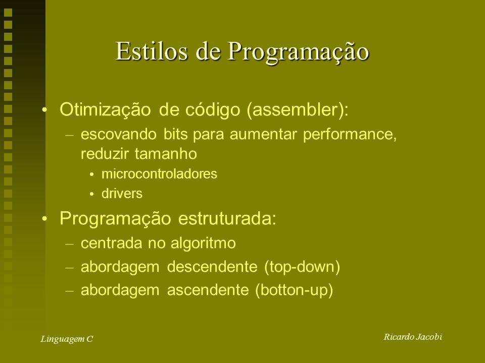 Ricardo Jacobi Linguagem C Estilos de Programação Otimização de código (assembler): – escovando bits para aumentar performance, reduzir tamanho microcontroladores drivers Programação estruturada: – centrada no algoritmo – abordagem descendente (top-down) – abordagem ascendente (botton-up)