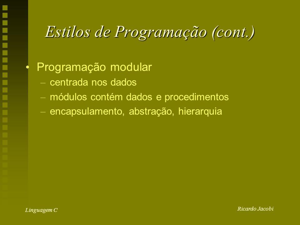 Ricardo Jacobi Linguagem C Estilos de Programação (cont.) Programação modular – centrada nos dados – módulos contém dados e procedimentos – encapsulamento, abstração, hierarquia