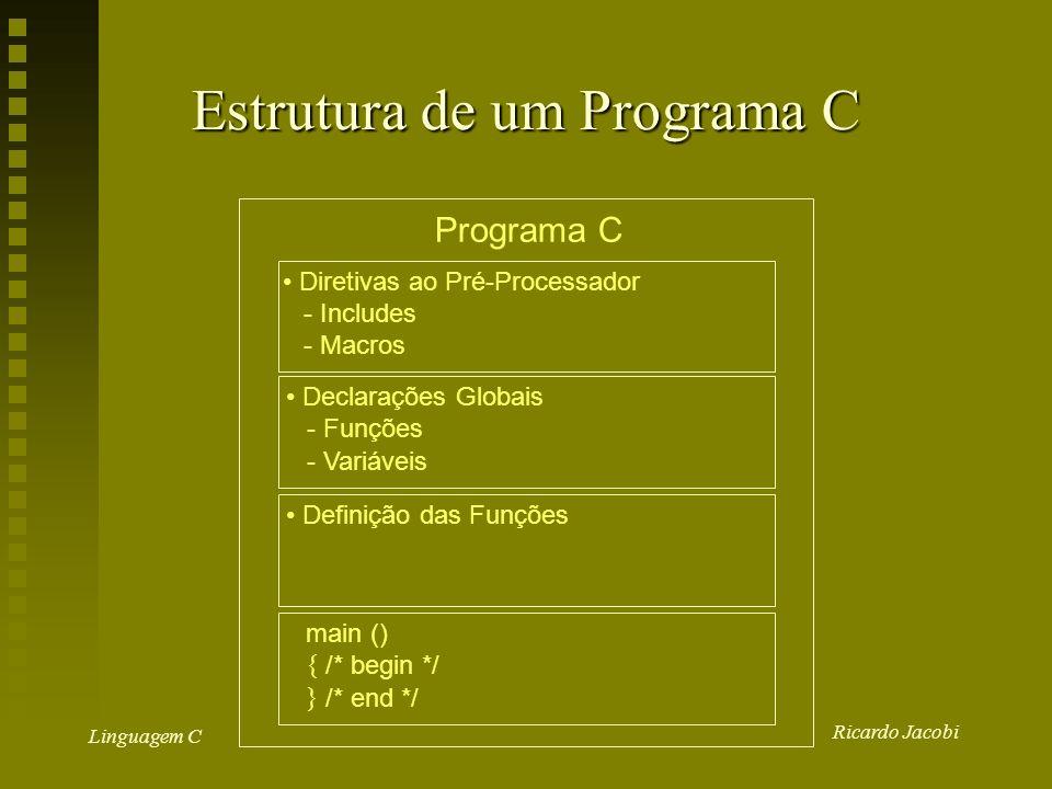 Ricardo Jacobi Linguagem C Estrutura de um Programa C Programa C Diretivas ao Pré-Processador - Includes - Macros Declarações Globais - Funções - Variáveis Definição das Funções main () { /* begin */ } /* end */