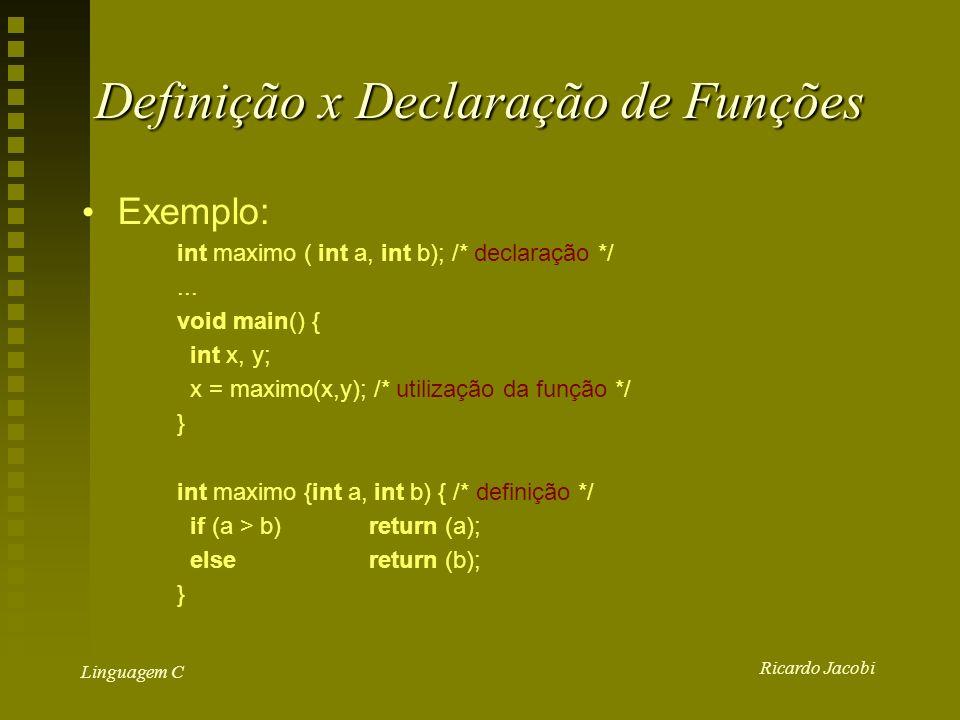 Ricardo Jacobi Linguagem C Definição x Declaração de Funções Exemplo: int maximo ( int a, int b); /* declaração */...