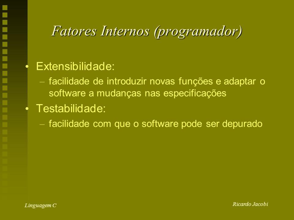 Ricardo Jacobi Linguagem C Fatores Internos (programador) Extensibilidade: – facilidade de introduzir novas funções e adaptar o software a mudanças nas especificações Testabilidade: – facilidade com que o software pode ser depurado