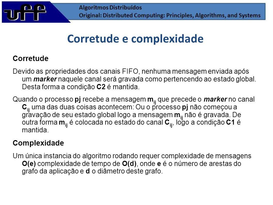Corretude Devido as propriedades dos canais FIFO, nenhuma mensagem enviada após um marker naquele canal será gravada como pertencendo ao estado global