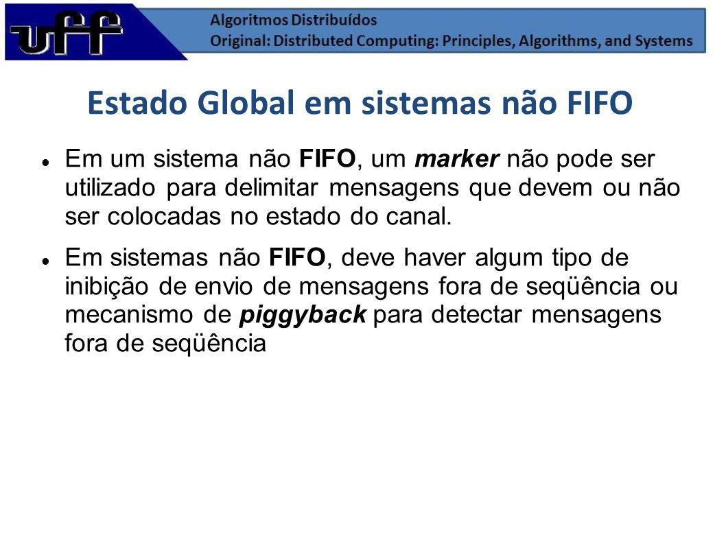 Em um sistema não FIFO, um marker não pode ser utilizado para delimitar mensagens que devem ou não ser colocadas no estado do canal. Em sistemas não F