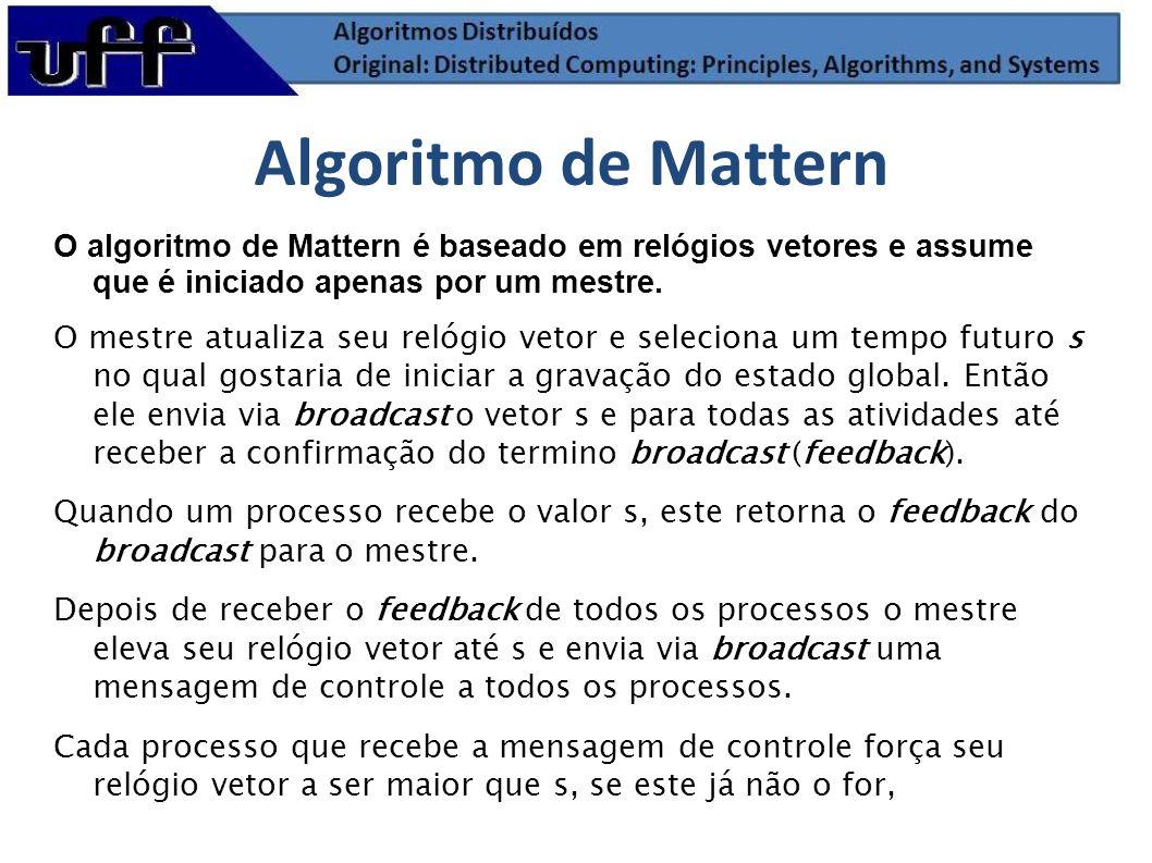 O algoritmo de Mattern é baseado em relógios vetores e assume que é iniciado apenas por um mestre. O mestre atualiza seu relógio vetor e seleciona um