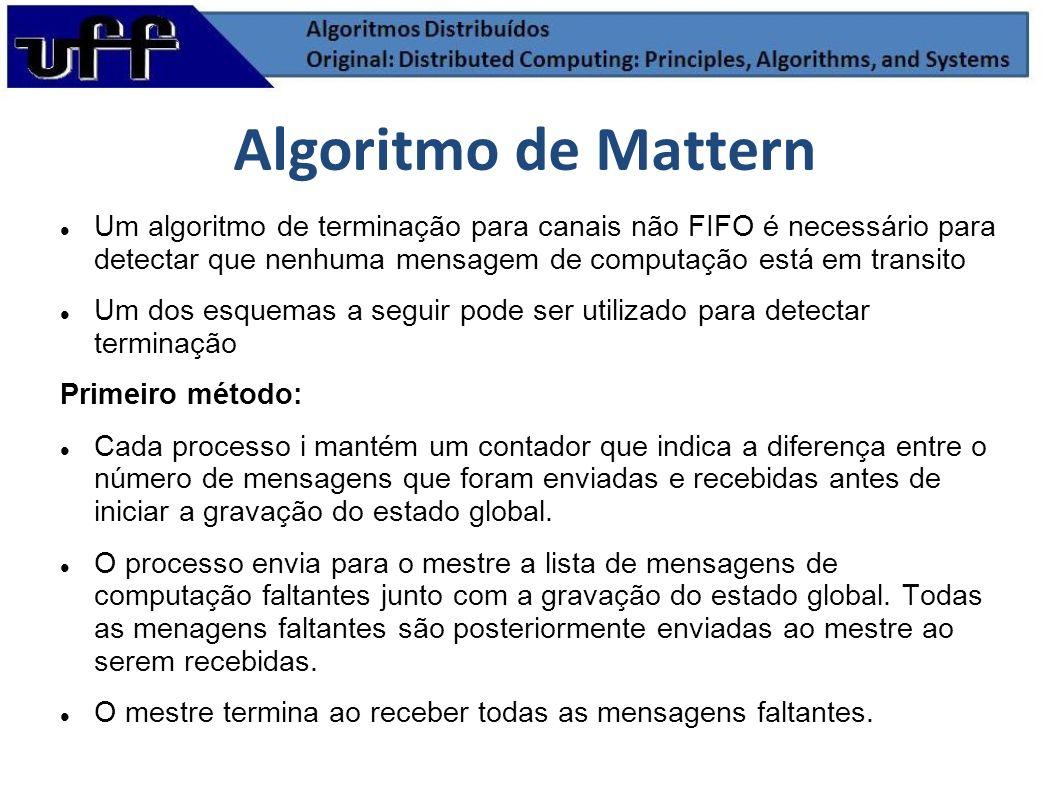 Um algoritmo de terminação para canais não FIFO é necessário para detectar que nenhuma mensagem de computação está em transito Um dos esquemas a segui
