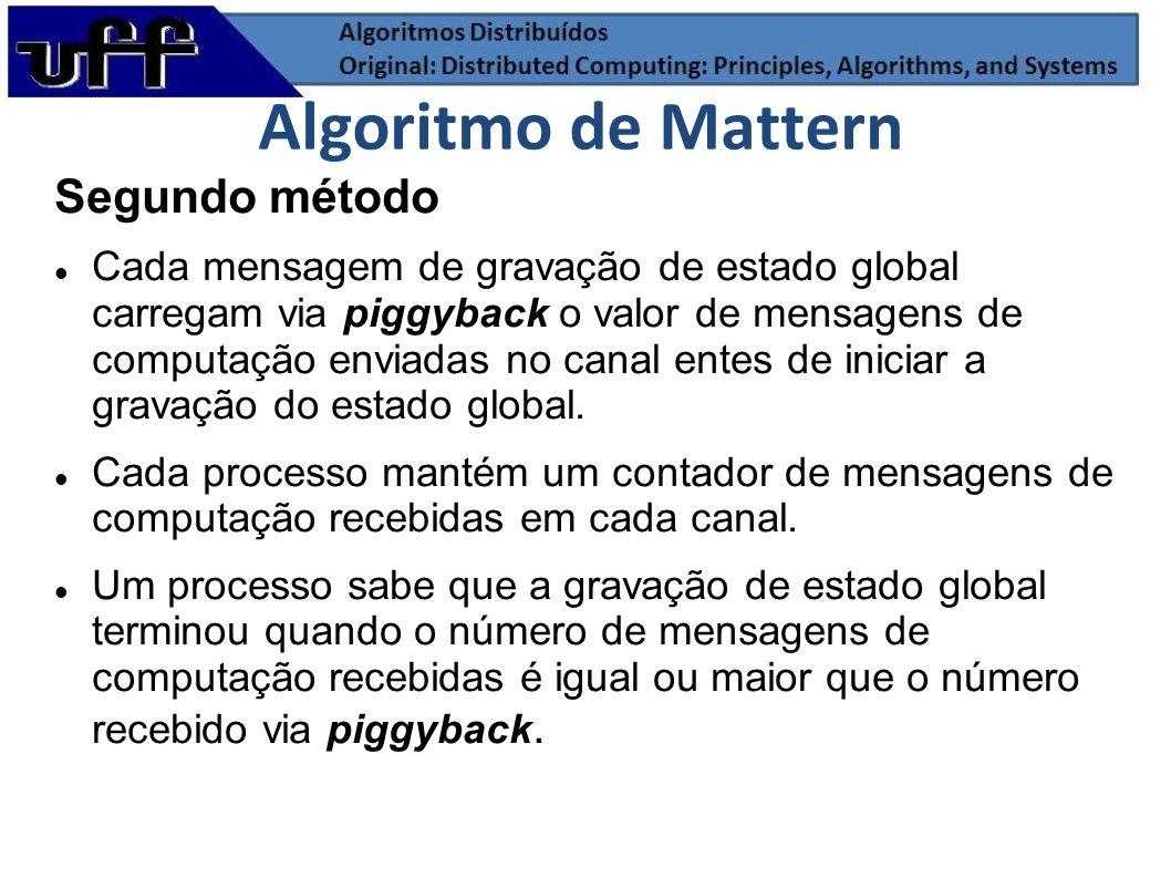 Segundo método Cada mensagem de gravação de estado global carregam via piggyback o valor de mensagens de computação enviadas no canal entes de iniciar