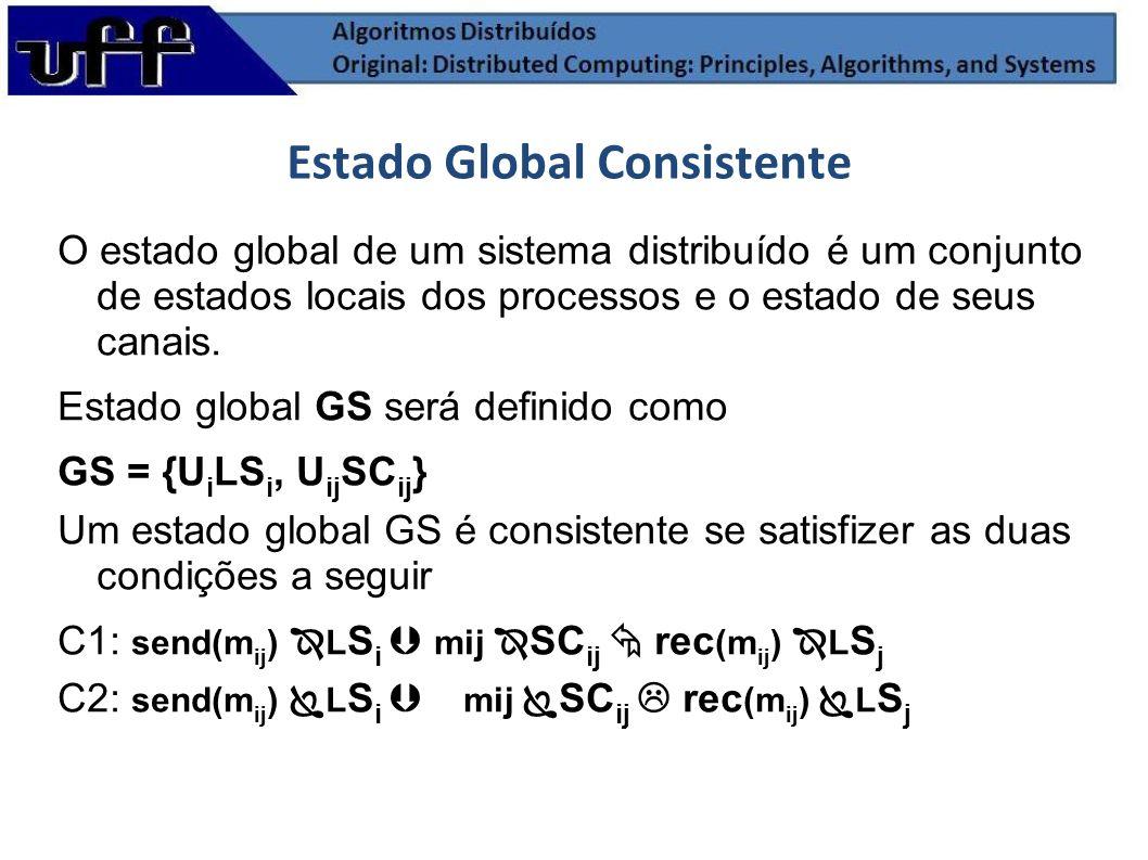 Estado Global Consistente O estado global de um sistema distribuído é um conjunto de estados locais dos processos e o estado de seus canais. Estado gl