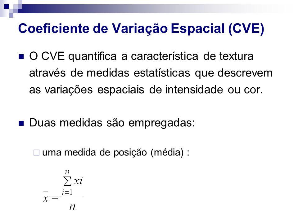 Coeficiente de Variação Espacial (CVE) O CVE quantifica a característica de textura através de medidas estatísticas que descrevem as variações espacia