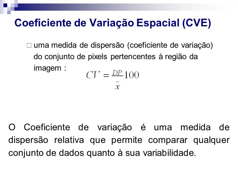 Coeficiente de Variação Espacial (CVE) uma medida de dispersão (coeficiente de variação) do conjunto de pixels pertencentes à região da imagem : O Coe