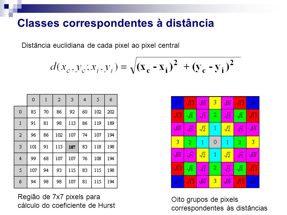Classes correspondentes à distância Região de 7x7 pixels para cálculo do coeficiente de Hurst Oito grupos de pixels correspondentes às distâncias Dist