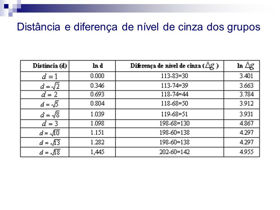 Distância e diferença de nível de cinza dos grupos