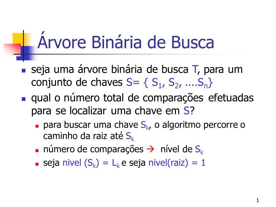 1 Árvore Binária de Busca seja uma árvore binária de busca T, para um conjunto de chaves S= { S 1, S 2,....S n } qual o número total de comparações ef