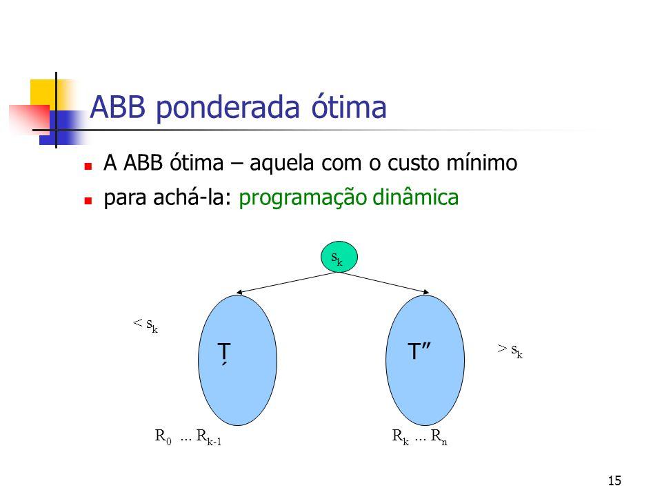 15 ABB ponderada ótima A ABB ótima – aquela com o custo mínimo para achá-la: programação dinâmica sksk T´T´ T < s k > s k R 0... R k-1 R k... R n