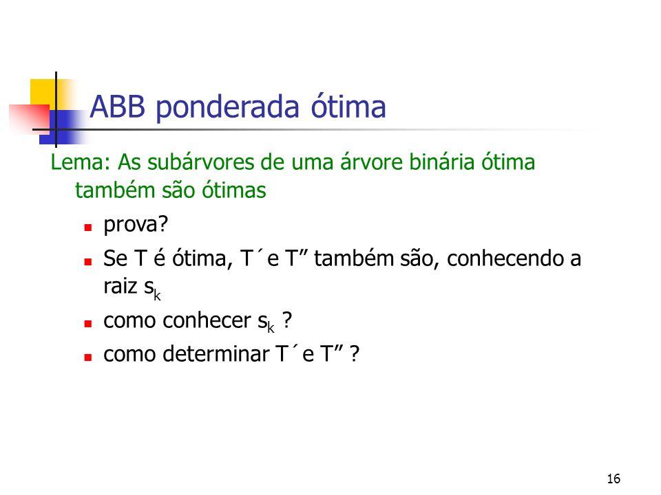 16 ABB ponderada ótima Lema: As subárvores de uma árvore binária ótima também são ótimas prova? Se T é ótima, T´e T também são, conhecendo a raiz s k