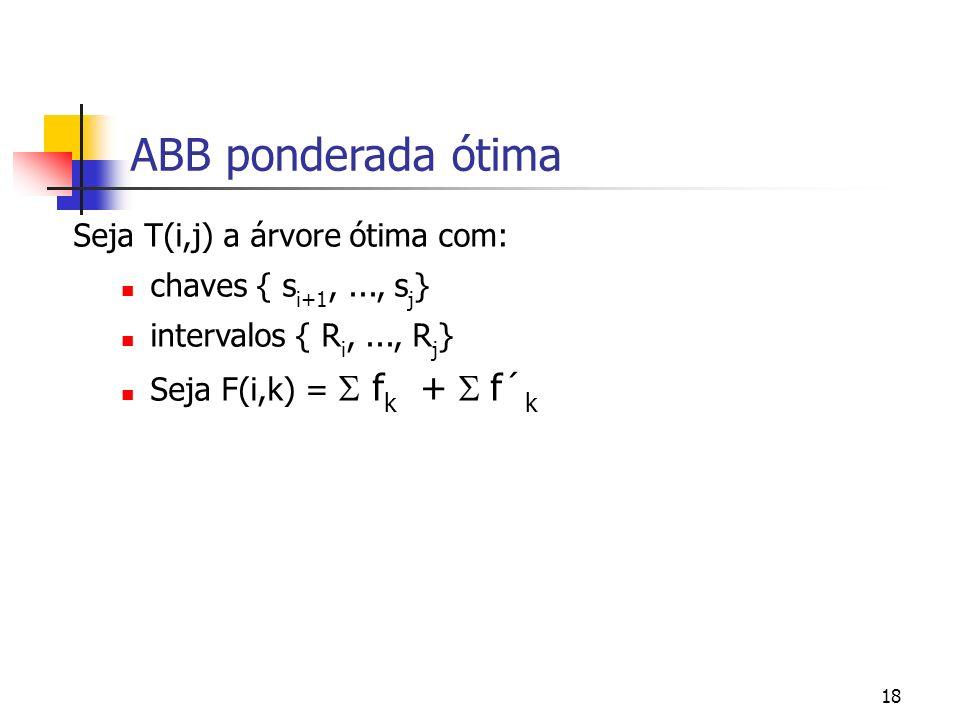 18 ABB ponderada ótima Seja T(i,j) a árvore ótima com: chaves { s i+1,..., s j } intervalos { R i,..., R j } Seja F(i,k) = f k + f´ k