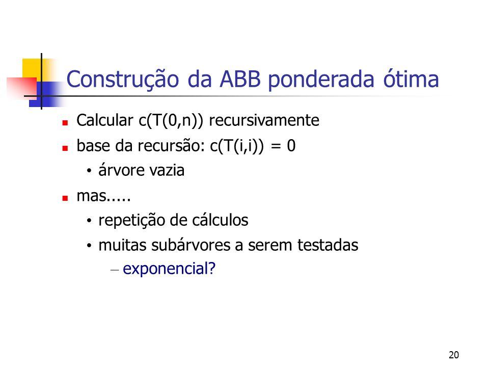 20 Construção da ABB ponderada ótima Calcular c(T(0,n)) recursivamente base da recursão: c(T(i,i)) = 0 árvore vazia mas..... repetição de cálculos mui