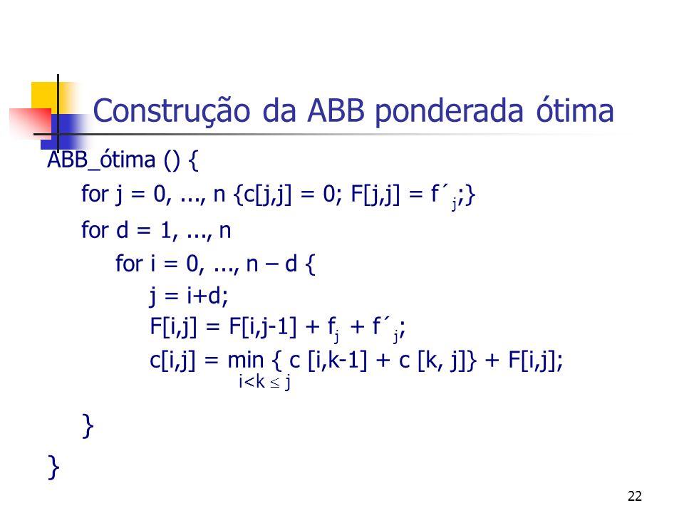 22 Construção da ABB ponderada ótima ABB_ótima () { for j = 0,..., n {c[j,j] = 0; F[j,j] = f´ j ;} for d = 1,..., n for i = 0,..., n – d { j = i+d; F[