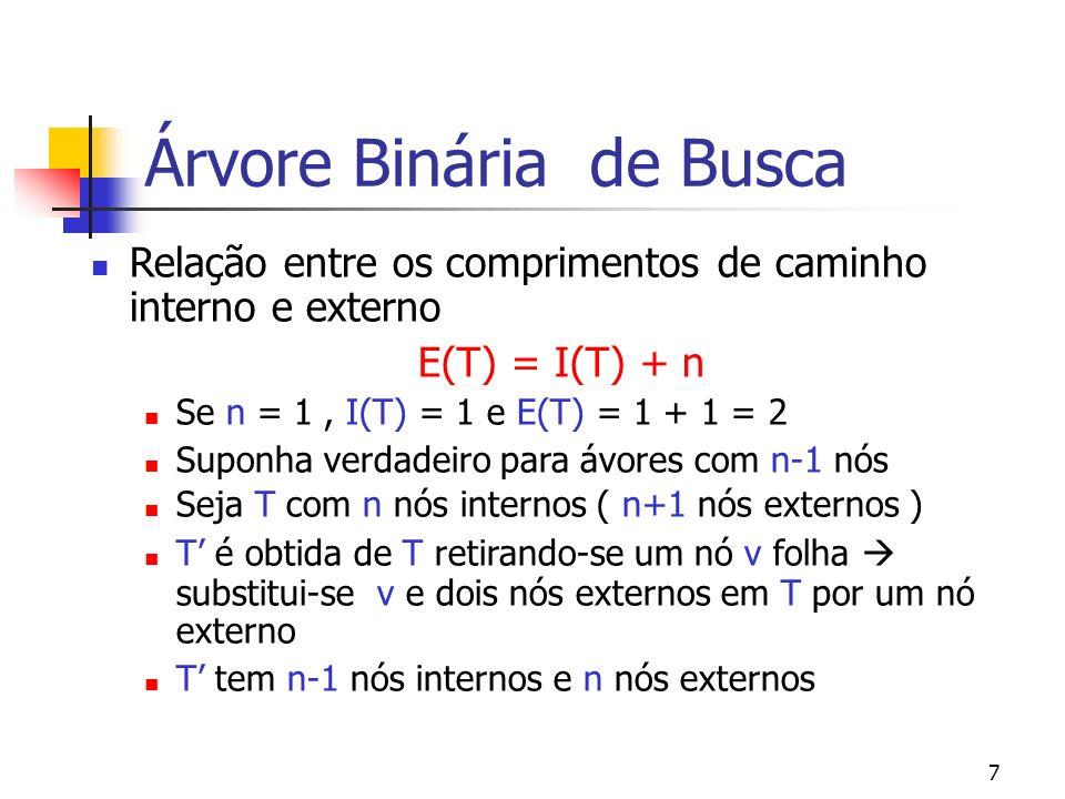 7 Árvore Binária de Busca Relação entre os comprimentos de caminho interno e externo E(T) = I(T) + n Se n = 1, I(T) = 1 e E(T) = 1 + 1 = 2 Suponha ver