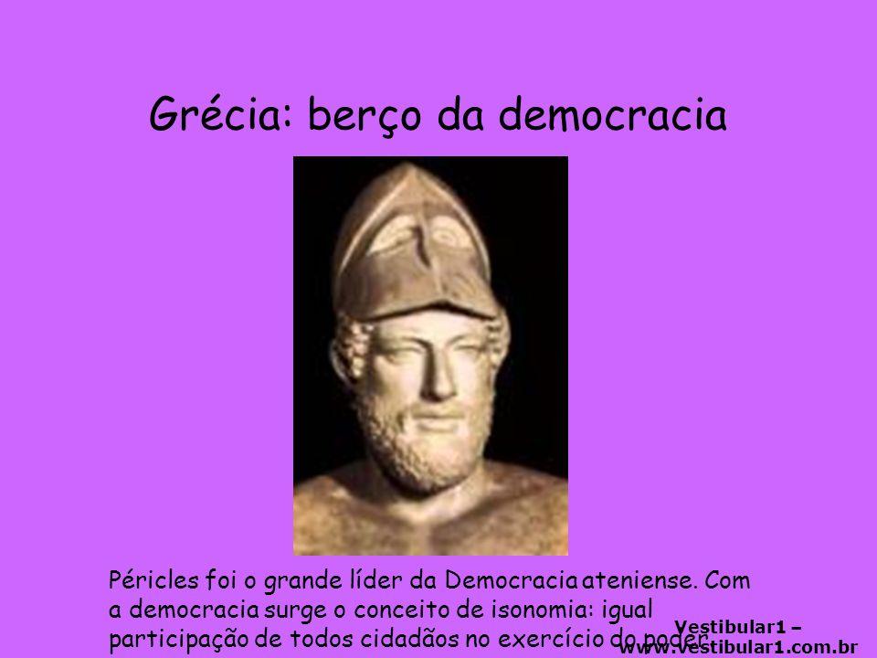 Vestibular1 – www.vestibular1.com.br Grécia: berço da democracia Péricles foi o grande líder da Democracia ateniense.