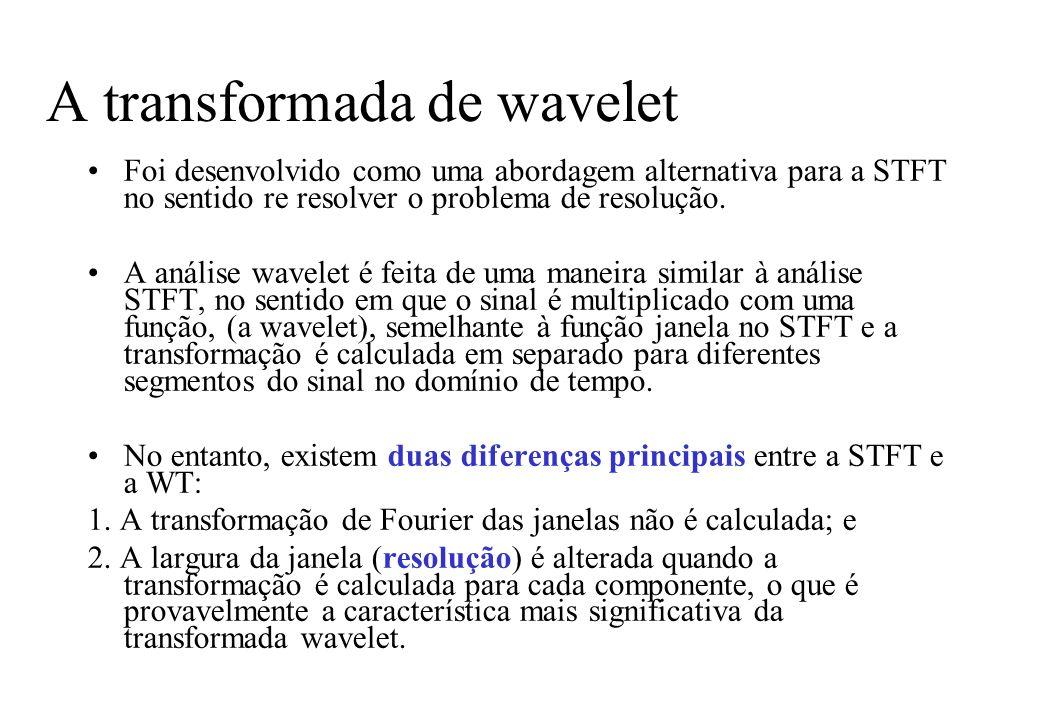 A transformada de wavelet Foi desenvolvido como uma abordagem alternativa para a STFT no sentido re resolver o problema de resolução.