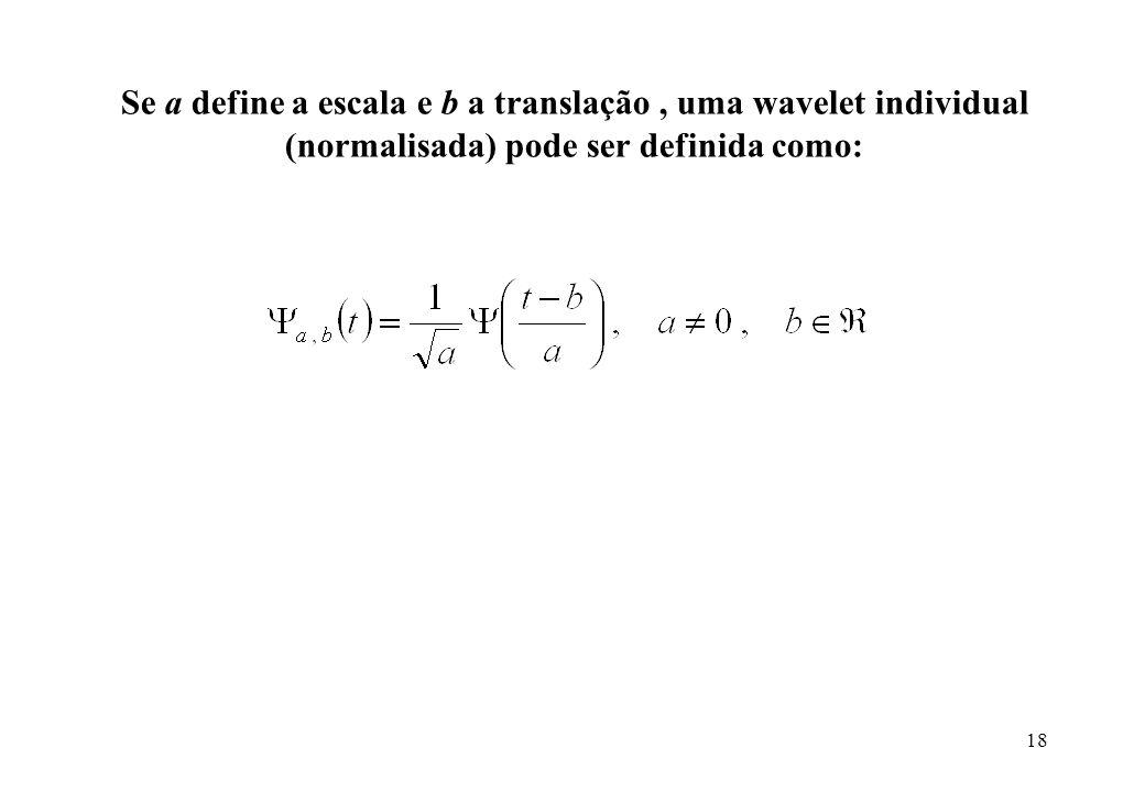 18 Se a define a escala e b a translação, uma wavelet individual (normalisada) pode ser definida como: