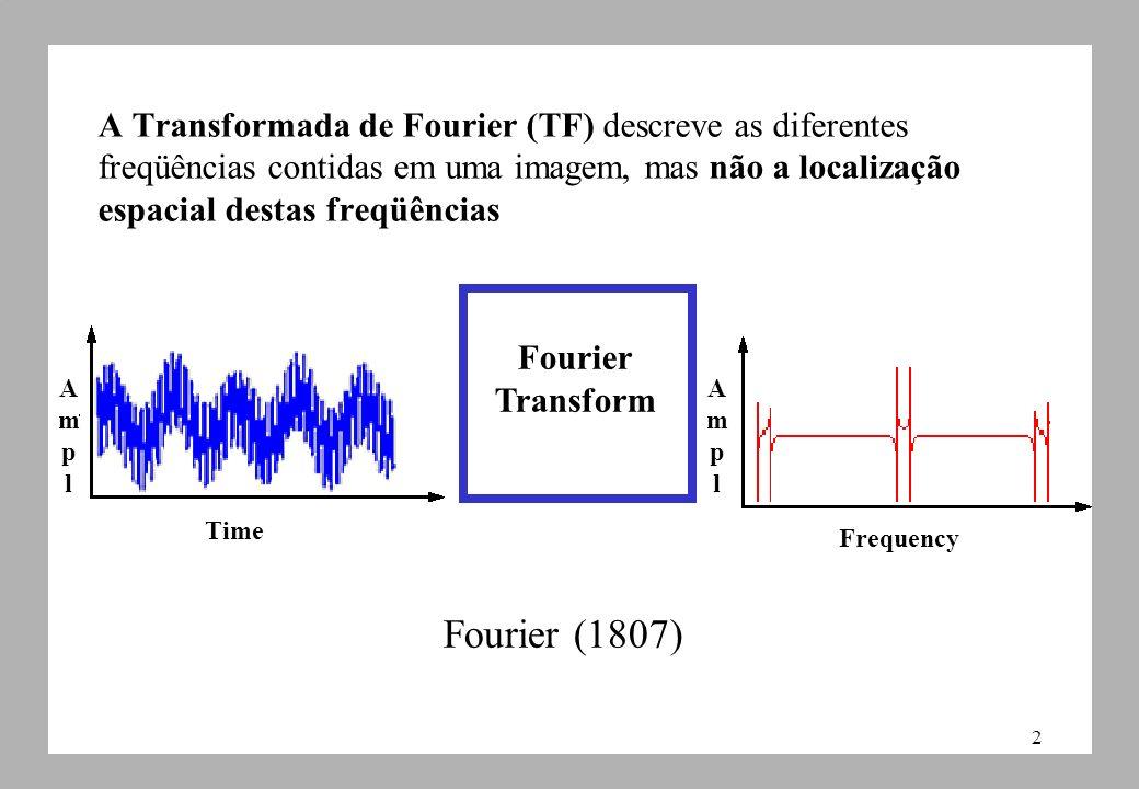 2 A Transformada de Fourier (TF) descreve as diferentes freqüências contidas em uma imagem, mas não a localização espacial destas freqüências Frequency Fourier Transform Time AmplAmpl AmplAmpl Fourier (1807)