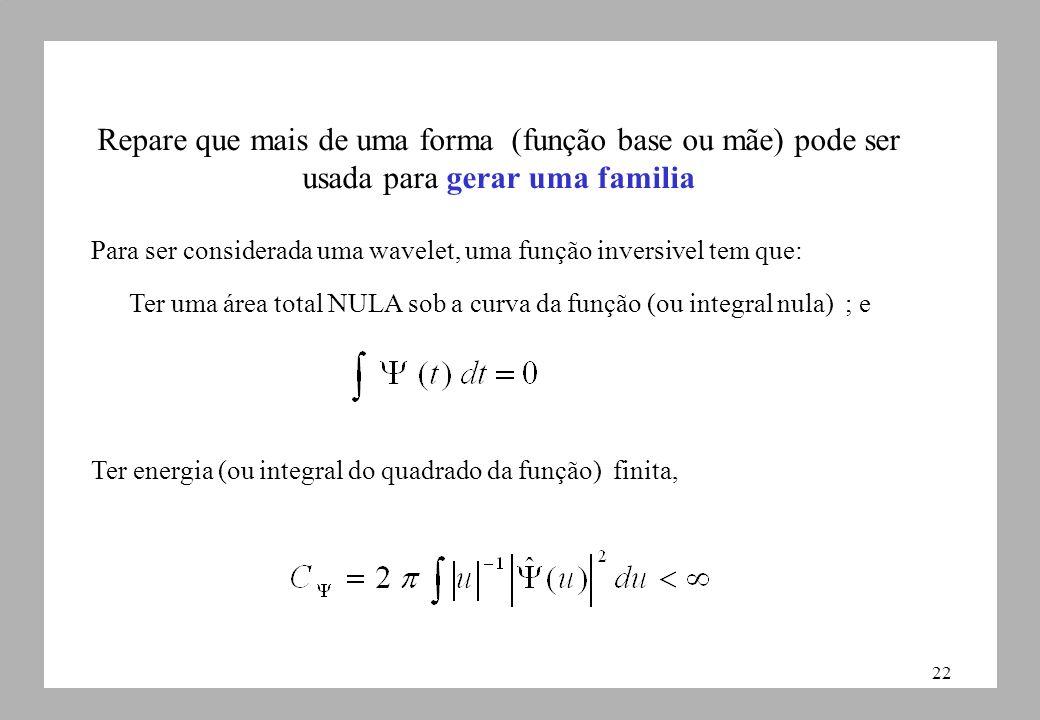 22 Repare que mais de uma forma (função base ou mãe) pode ser usada para gerar uma familia Para ser considerada uma wavelet, uma função inversivel tem que:: Ter uma área total NULA sob a curva da função (ou integral nula) ; e Ter energia (ou integral do quadrado da função) finita,