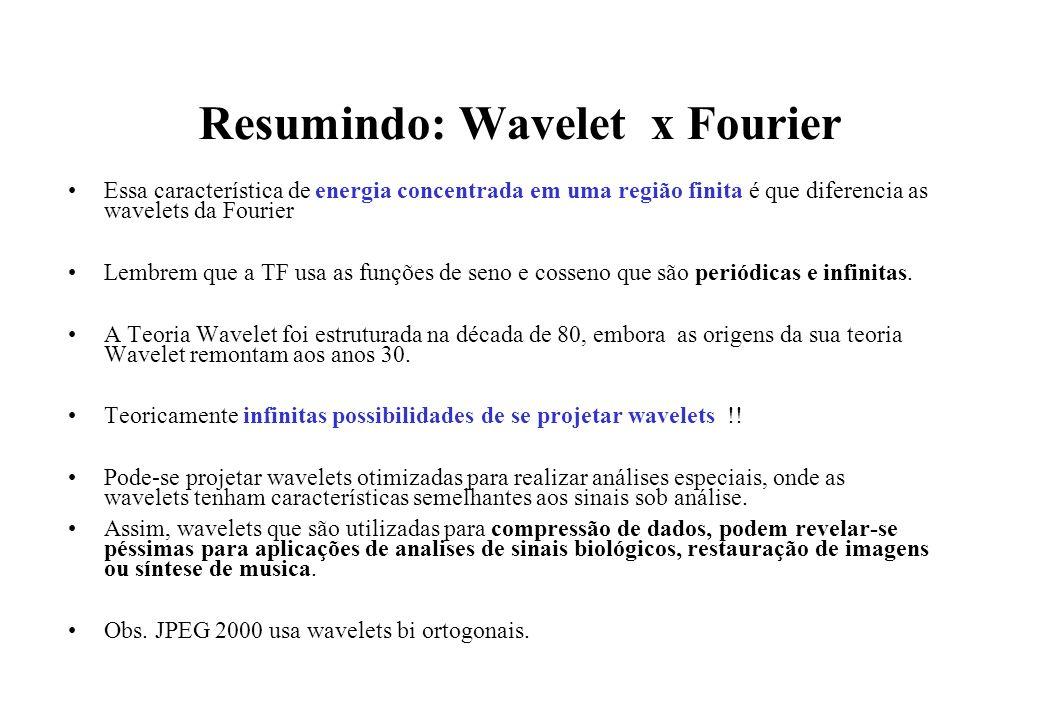 Resumindo: Wavelet x Fourier Essa característica de energia concentrada em uma região finita é que diferencia as wavelets da Fourier Lembrem que a TF usa as funções de seno e cosseno que são periódicas e infinitas.
