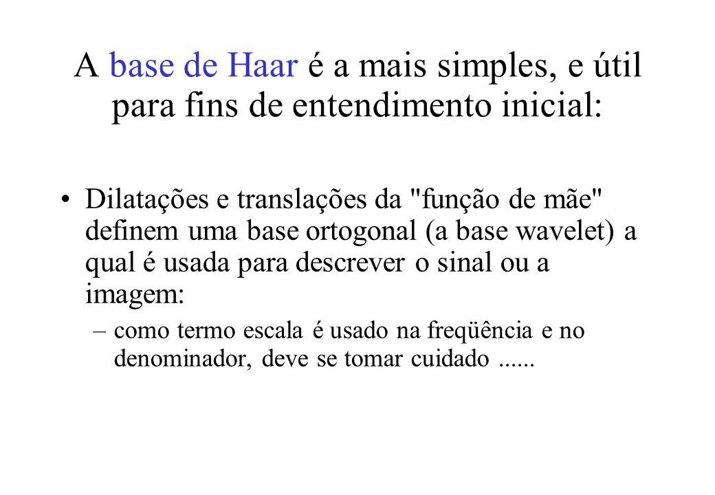 A base de Haar é a mais simples, e útil para fins de entendimento inicial: Dilatações e translações da função de mãe definem uma base ortogonal (a base wavelet) a qual é usada para descrever o sinal ou a imagem: –como termo escala é usado na freqüência e no denominador, deve se tomar cuidado......