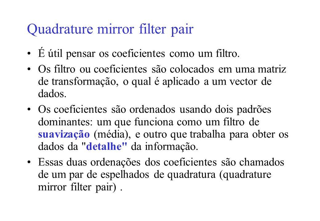 Quadrature mirror filter pair É útil pensar os coeficientes como um filtro.