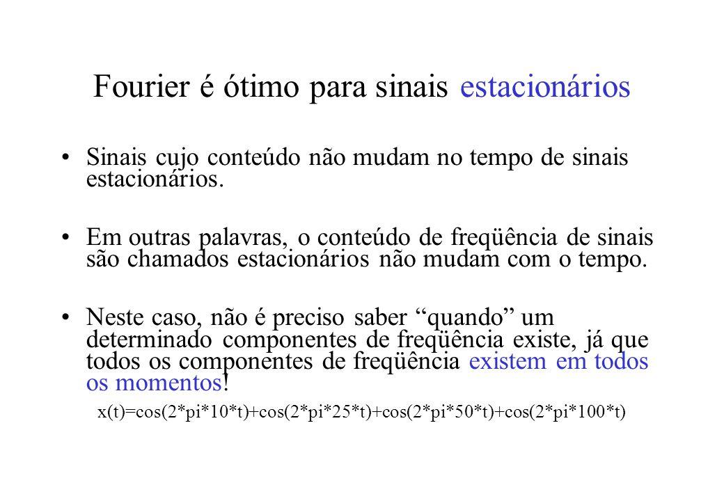 Fourier é ótimo para sinais estacionários Sinais cujo conteúdo não mudam no tempo de sinais estacionários.