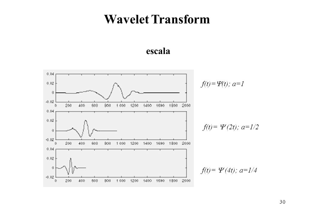 30 escala Wavelet Transform f(t)= (t); a=1 f(t)= (2t); a=1/2 f(t)= (4t); a=1/4