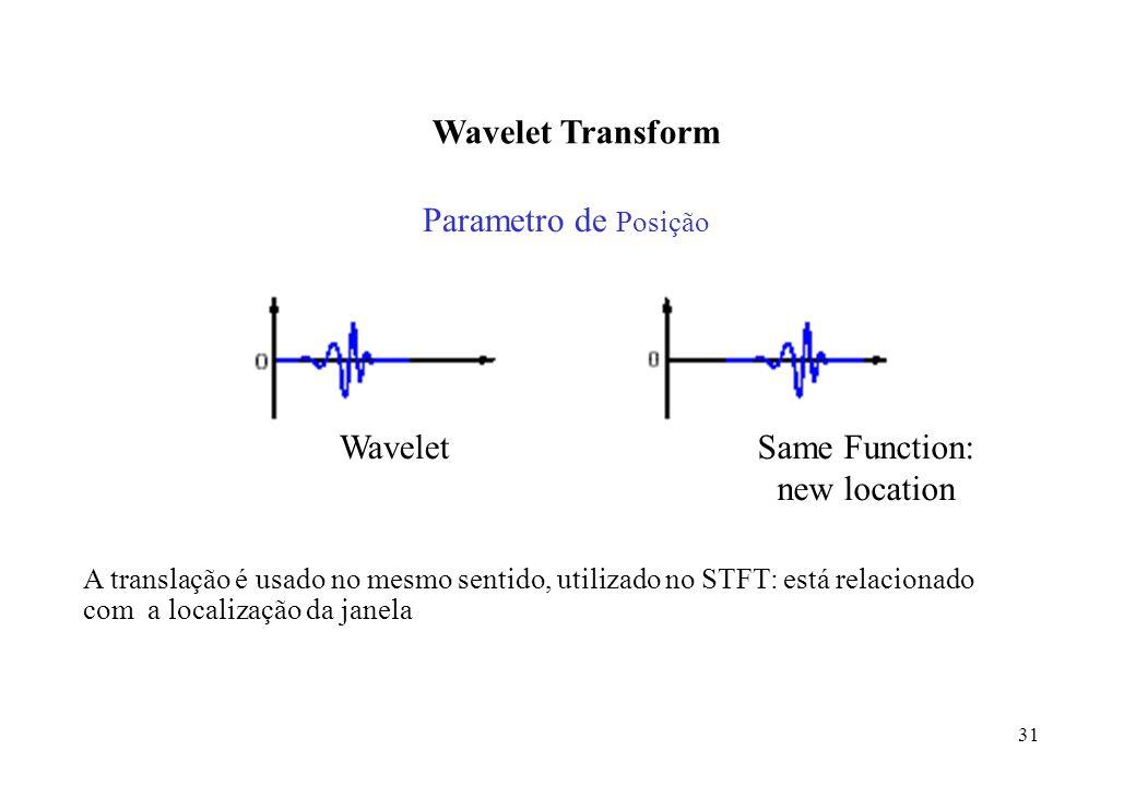 31 Wavelet Transform Parametro de Posição WaveletSame Function: new location A translação é usado no mesmo sentido, utilizado no STFT: está relacionado com a localização da janela,