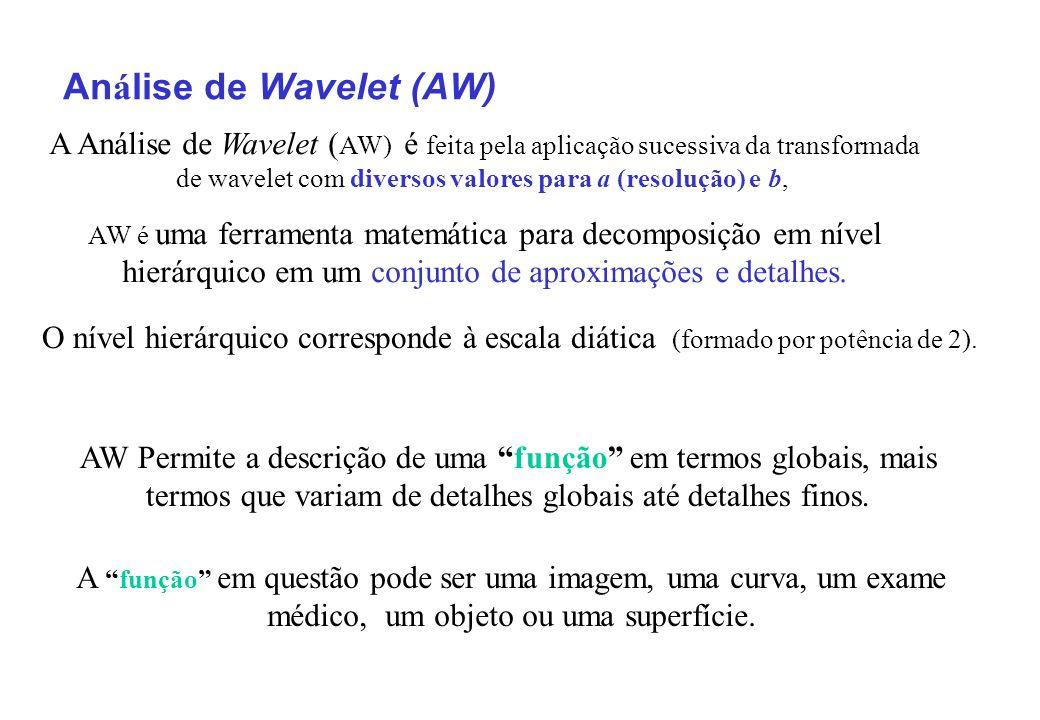 An á lise de Wavelet (AW) A Análise de Wavelet ( AW) é feita pela aplicação sucessiva da transformada de wavelet com diversos valores para a (resolução) e b, AW é uma ferramenta matemática para decomposição em nível hierárquico em um conjunto de aproximações e detalhes.